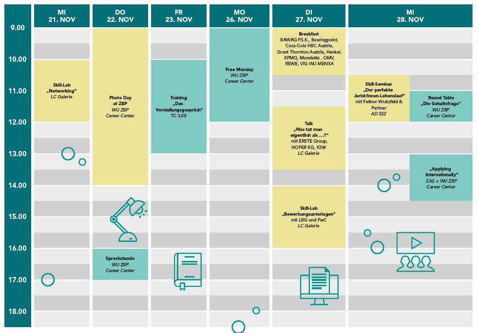 Zeitplan und Übersicht der Angebote der Career Insights